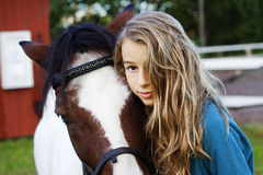 Teenager and icelandic  horse Royalty Free Stock Photo