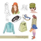 Teenager icons Royalty Free Stock Image