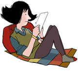 Teenager with ipad. Young teenage girl lying down reading ipad Stock Illustration