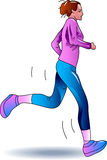 Teenager jogging. Illustrated teenager jogging clip art image Royalty Free Stock Image