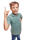 Teenager kid blond boy shaggy raised thumbs up is Stock Photo