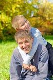 Teenager and kid portrait Stock Photo