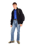 Teenager with knapsack. Isolated on the white Stock Image