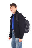 Teenager with knapsack. Isolated on the white Stock Photos