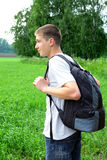 Teenager with knapsack Royalty Free Stock Photography