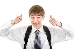 Teenager with Knapsack. Happy Student with Knapsack shows Thumb Up Gesture Isolated on the White Background Stock Photography