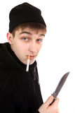 Teenager with the Knife Royalty Free Stock Photos