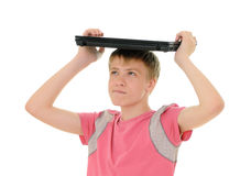 Teenager with laptop Royalty Free Stock Image