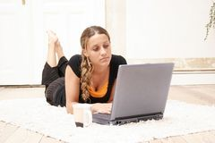 Teenager and Laptop Stock Images