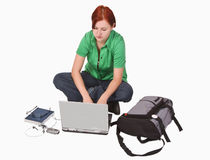 Teenager with laptop Royalty Free Stock Photo