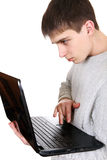 Teenager with Laptop Stock Image