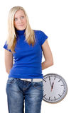 Teenager with large clock Royalty Free Stock Photography