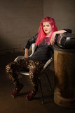 Teenager in Leopard Skin Tights Stock Photo