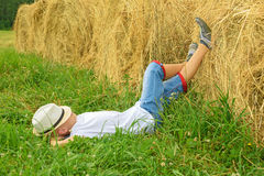 Teenager lies and has a rest. Happy boy. Royalty Free Stock Image