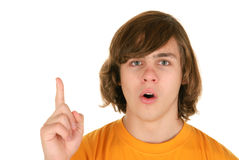 Teenager with lifted finger Stock Image