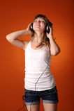 Teenager listen to music Stock Photo