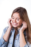 Teenager listening music Royalty Free Stock Image