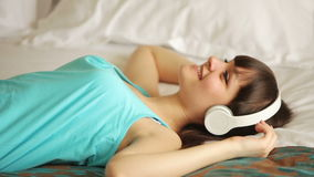 Teenager listening  music and relaxing stock footage