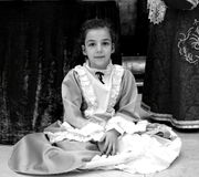 Teenager. Little woman dressed as a lady, historical period eight hundred, italian royalty free stock image