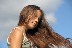 Teenager with long beautiful hair Stock Photography