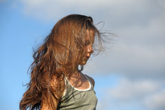 Teenager with long beautiful hair Royalty Free Stock Images
