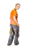 Teenager Looking Back. Standing Teenager Looking Back isolated on white stock photo