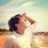 Teenager looking Upwards Royalty Free Stock Photo