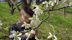 Teenager makes biology laboratory work in the park stock video footage