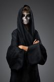 Teenager with makeup skull cape Royalty Free Stock Photos
