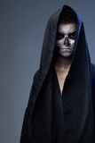 Teenager with makeup skull cape Royalty Free Stock Image