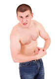 Teenager man presents his muscles Stock Photography