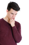 Teenager man in sweater thinking concentrated isolated on white Stock Photography