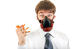 Teenager in the Mask hold a Cigarettes Stock Images