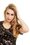 Teenager with messy blond hair Royalty Free Stock Photo