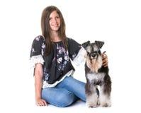 Teenager and miniature schnauzer royalty free stock photo