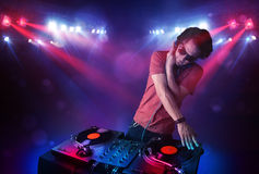 Teenager  mixing records Royalty Free Stock Photography