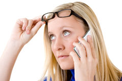 Teenager with mobile telephone Stock Images