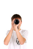 Teenager with monocle. Front view Stock Photo