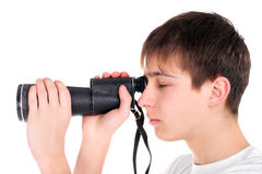 Teenager with monocle. Isolated on the white Royalty Free Stock Images