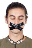 Teenager with mouth sealed royalty free stock photo