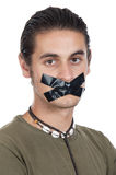 Teenager with mouth sealed Stock Photography