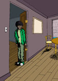 Teenager nella sala con i pavimenti di legno duro Fotografie Stock Libere da Diritti
