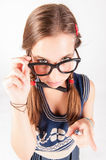 Teenager nerdy girl telling someone off Stock Image