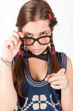 Teenager nerdy girl telling someone off Royalty Free Stock Images