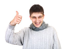 Teenager with OK gesture. Cheerful Teenager with OK Gesture Isolated on the White Background Stock Photography