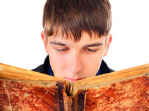 Teenager with Old Book Royalty Free Stock Images