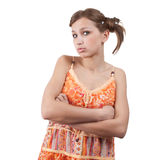 Teenager in orange dress over white. Background stock photos
