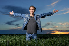 Teenager outdoor at sunset Royalty Free Stock Image