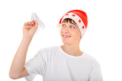 Teenager with Paper Plane Royalty Free Stock Photo