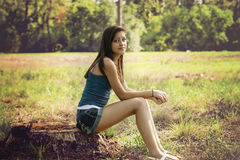 Teenager in the park Royalty Free Stock Image